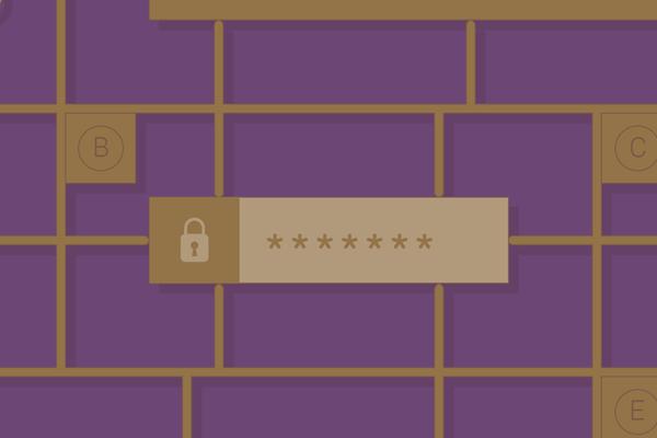 A hidden password with a lock.