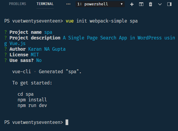 vue app with vue init and webpack template