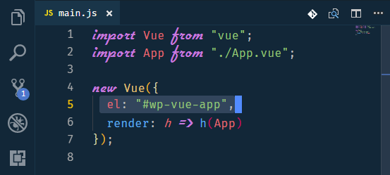 specifying the mount point in vue
