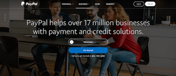 PayPal Business solutions page