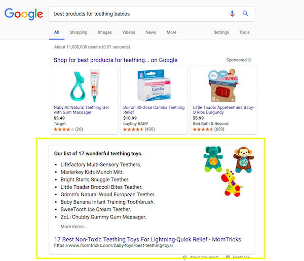 Product List Featured Snippet