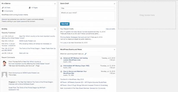 Standard WordPress Dashboard View