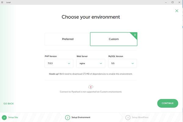 Setup a Custom environment