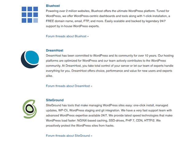 WordPress suggested hosts