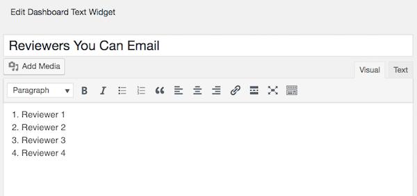 Edit WordPress Dashboard Text Widget visual editor