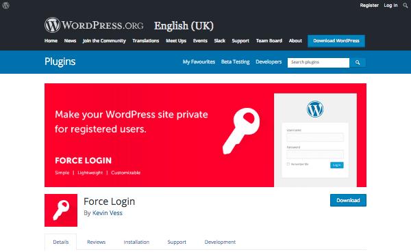 force login plugin page