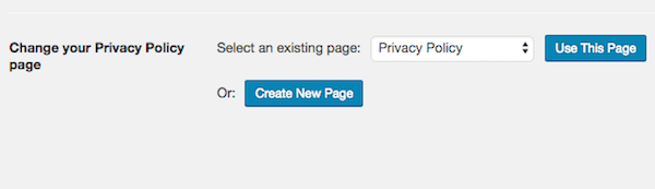 Privacy policy settings page in WordPress admin