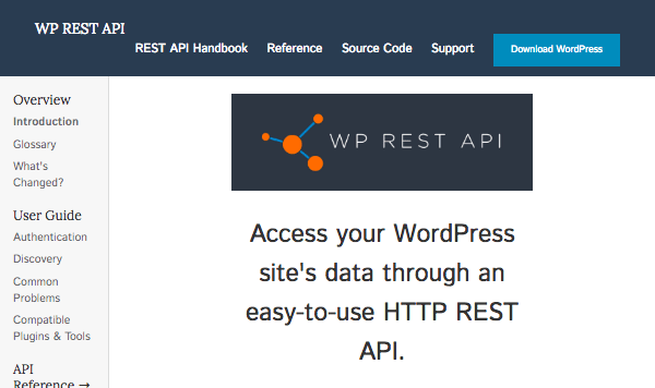 the WordPress REST API website