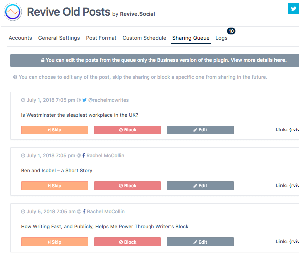 revive old posts dashboards