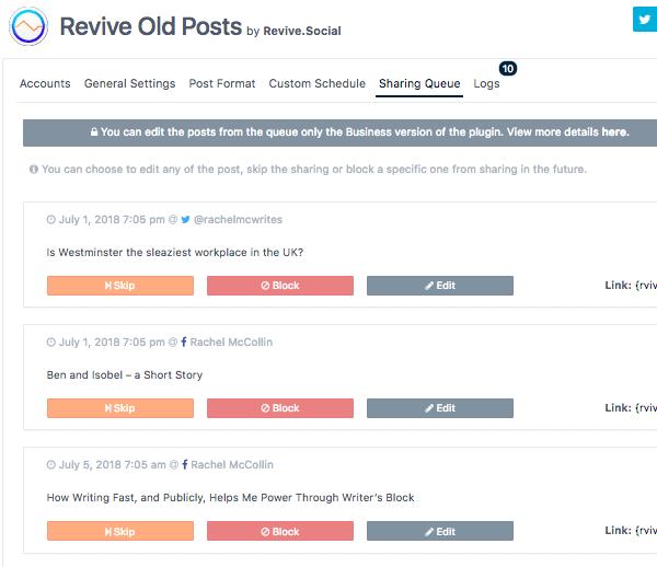 revive old posts dashboards