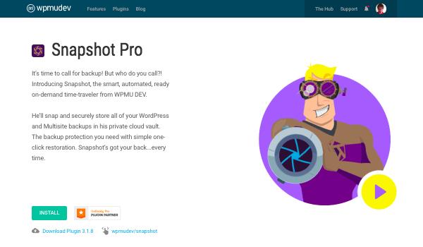 Snapshot Pro WPMU DEV plugin page