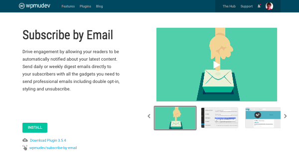 subscribe by email plugin page