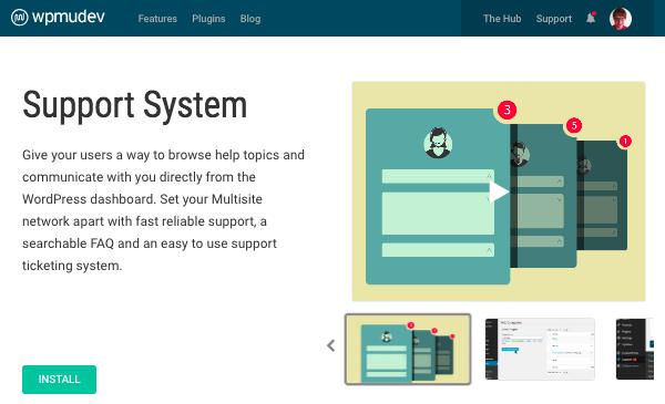 Support system plugin page on WPMU DEV website