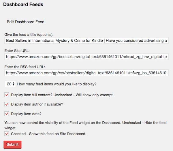 Ultimate Branding Edit WordPress Dashboard Feeds View