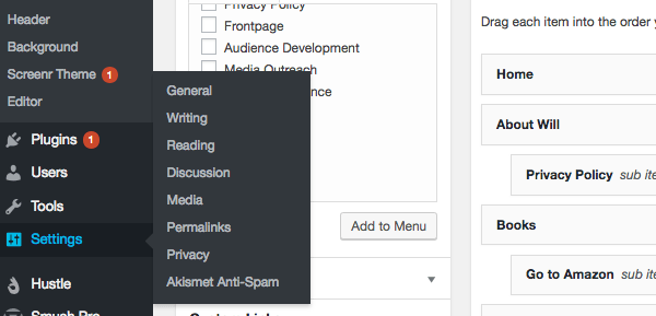 WordPress admin privacy policy in the menu.