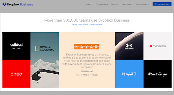 B2B and B2C Websites - Dropbox Proof
