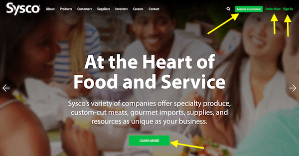 B2B and B2C Websites - Sysco CTAs