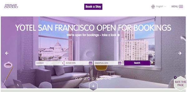 B2B and B2C Websites - Yotel Design