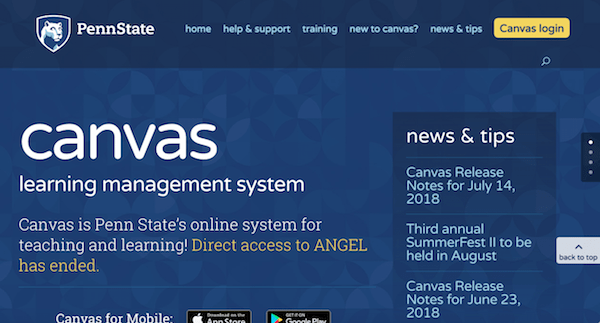 Canvas Learning Management System Home