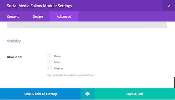 advanced settings display options