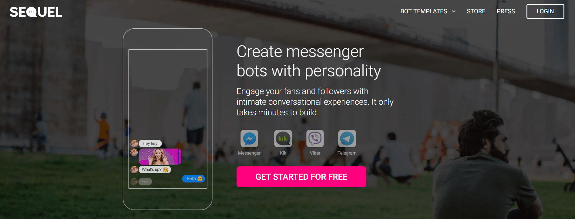 facebook messenger marketing - Sequel landing page