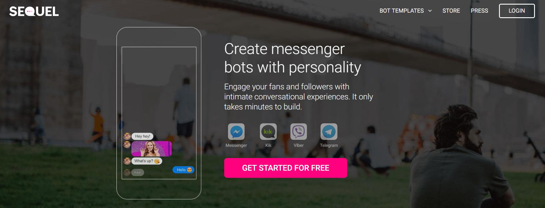 facebook messenger marketing - Sequel landing page