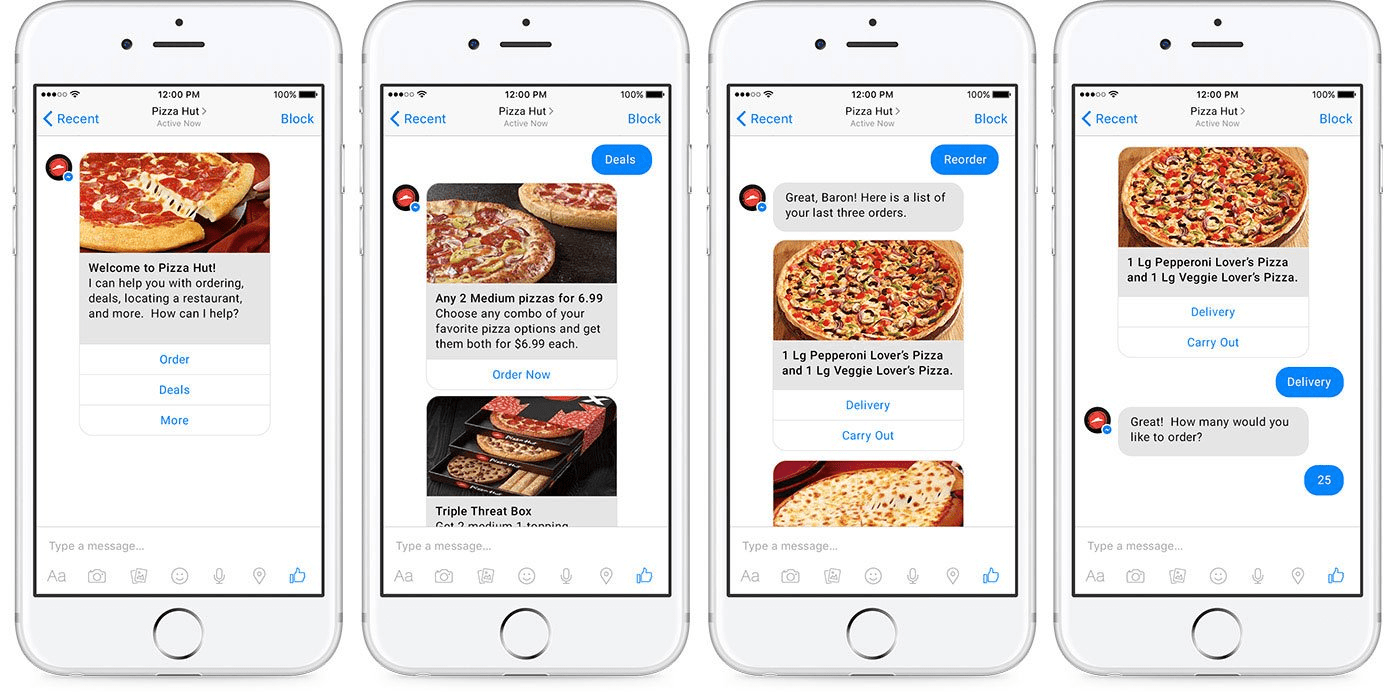 facebook messenger marketing - Pizza Hut chat