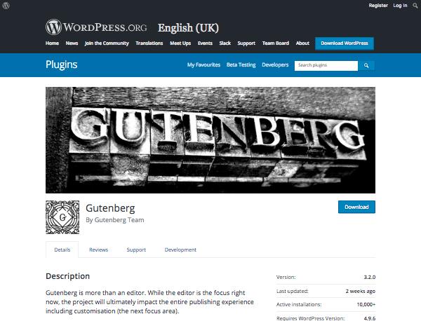 the Gutenberg plugin page on the WordPress plugins directory