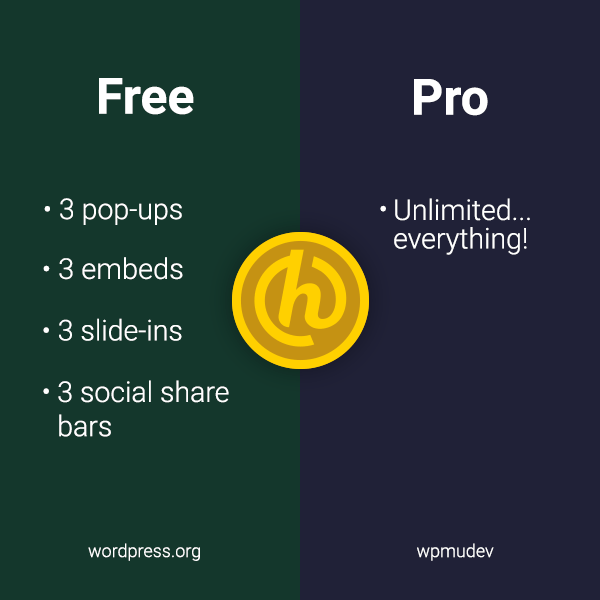 Hustle free and pro comparison graphic
