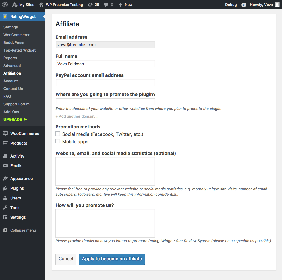 An example of an affiliate program application inside of a plugin.
