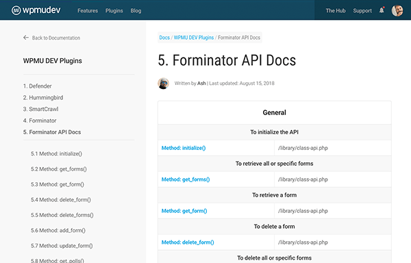 forminator documentation included