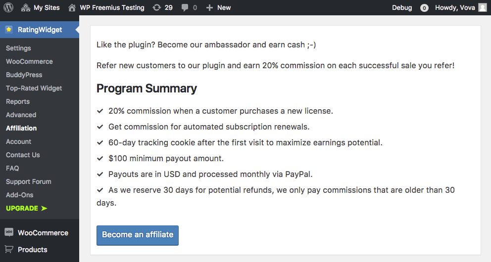 A screenshot of an example affiliate program in a plugin.