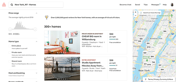 Airbnb custom search tool