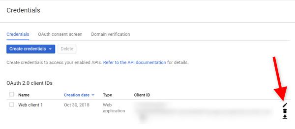 Screenshot of how to retrieve client secret in Google API