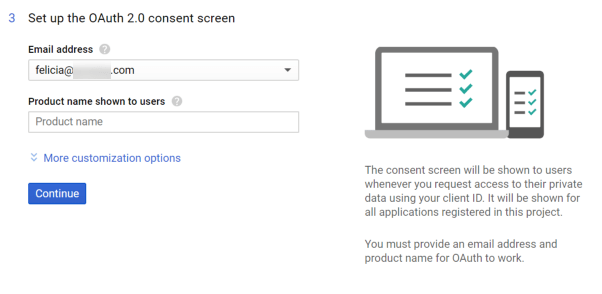 Screenshot of Gmail API Set up OAuth Consent Screen