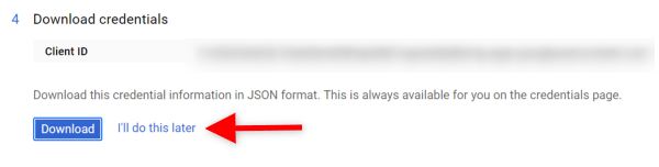 Screenshot of the final step setting up the Gmail API