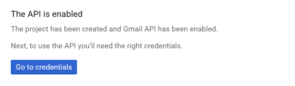 Screenshot Gmail API is enabled