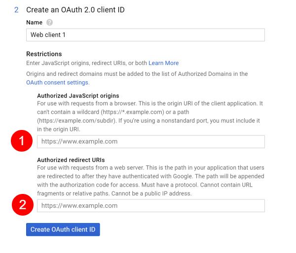 Screenshot of Google API Create OAuth Client Credentials