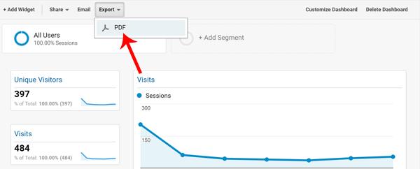 Screenshot of where to find Google Analytics Create PDF Settings