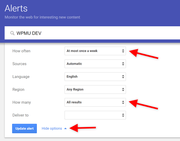 Screenshot of Google Alerts Settings