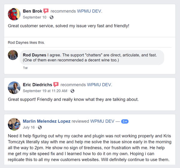 Screenshot of WPMU DEV reviews on Facebook