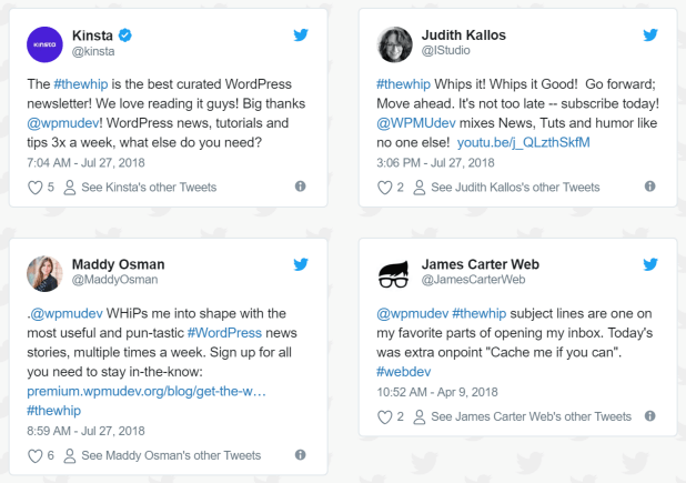 Screenshot of tweets about the WhiP newsletter