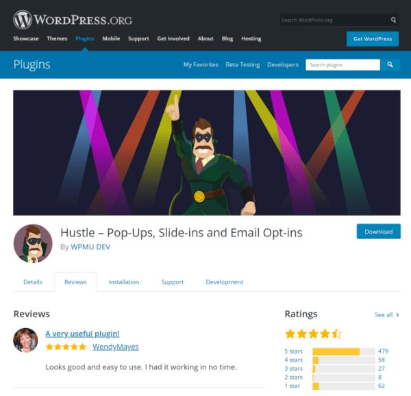 Screenshot of Hustle plugin on WordPress.org