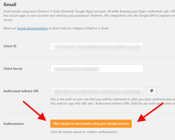 Screenshot of WP Mail SMTP Authorize Plugin to Use Gmail API