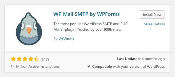 Screenshot of WP Mail SMTP Plugin in WordPress