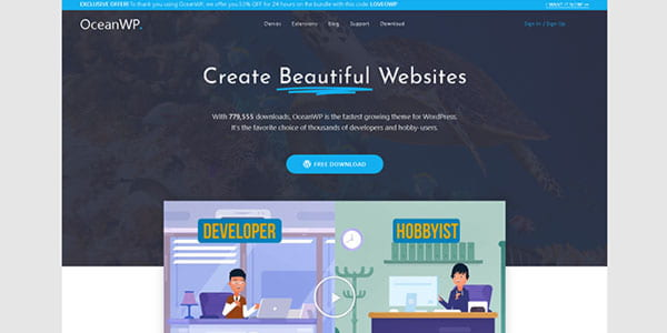 OceanWP - very fast WordPress theme ideal for setting up e-commerce webshops