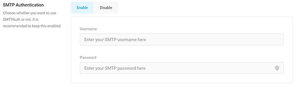 Screenshot Branda SMTP Settings