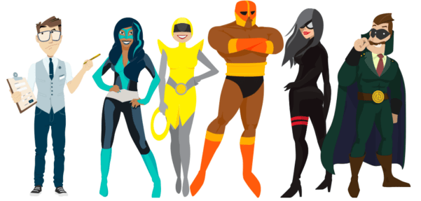 Illustrations of WPMU DEV superhero plugins