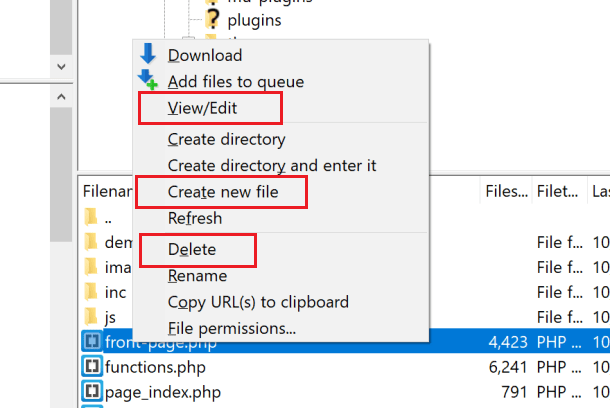 Screenshot of right clicking in FileZilla in order to view, create or delete files