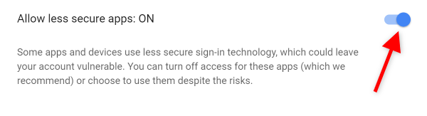 Screenshot of Allow less secure apps setting